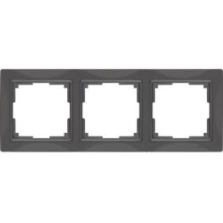 Рамка на 3 поста стекло WL03-Frame-03 серо-коричневый, basic