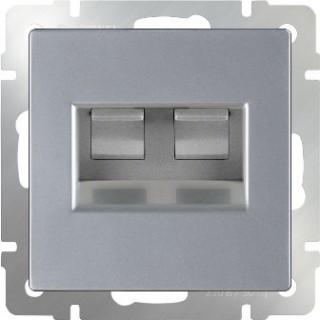 Розетка двойная Ethernet RJ-45 Werkel WL06-RJ45+RJ45 серебряный