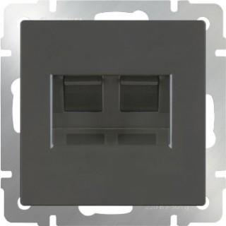Розетка двойная Ethernet RJ-45 Werkel WL07-RJ45+RJ45 серо-коричневый