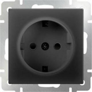 Розетка с заземлением WL08-SKG-01-IP20 черный матовый