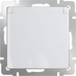 Розетка влагозащищенная с заземлением с защитной крышкой и шторками WL01-SKGSC-01-IP44 белый