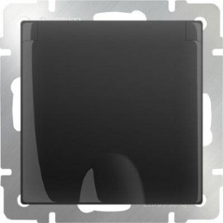 Розетка влагозащищенная с заземлением, с защитной крышкой и шторками WL08-SKGSC-01-IP44 черный матовый
