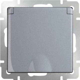 Розетка влагозащищенная с заземлением, с защитной крышкой и шторками WL06-SKGSC-01-IP44 серебряный