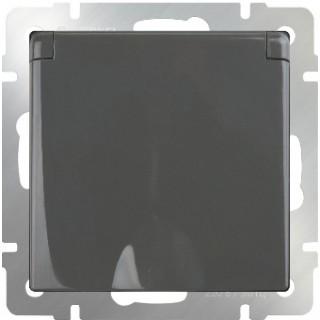 Розетка влагозащищенная с заземлением, с защитной крышкой и шторками WL07-SKGSC-01-IP44 серо-коричневый
