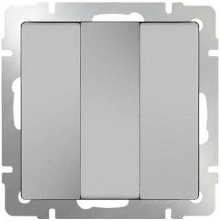 Выключатель трехклавишный WL06-SW-3G серебряный