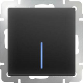 Выключатель одноклавишный  с подсветкой WL08-SW-1G-LED черный