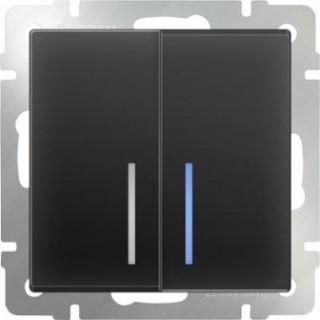 Выключатель двухклавишный проходной с подсветкой WL08-SW-2G-2W-LED черный