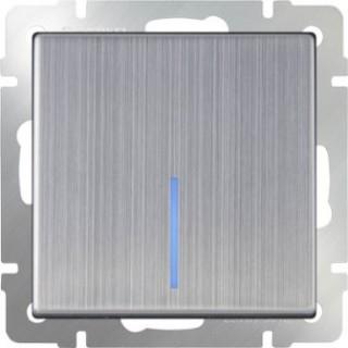 Выключатель одноклавишный проходной с подсветкой WL02-SW-1G-2W-LED глянцевый никель