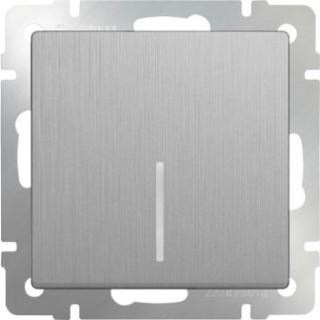 Выключатель одноклавишный  с подсветкой WL06-SW-1G-LED серебряный