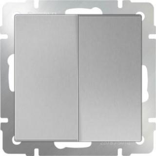 Выключатель двухклавишный проходной WL06-SW-2G-2W серебряный