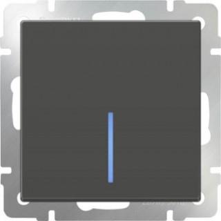 Выключатель одноклавишный проходной с подсветкой WL07-SW-1G-2W-LED серо-коричневый