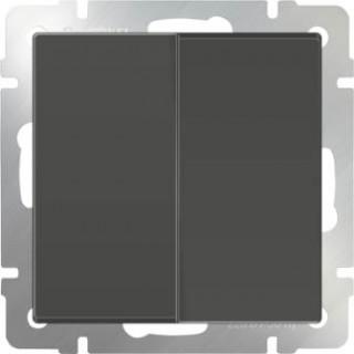 Выключатель двухклавишный проходной WL07-SW-2G-2W серо-коричневый