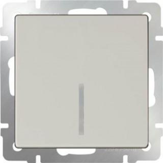 Выключатель одноклавишный проходной с подсветкой WL03-SW-1G-2W-LED слоновая кость