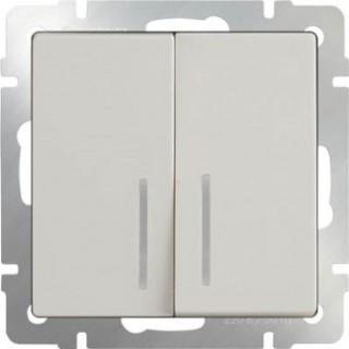 Выключатель двухклавишный проходной с подсветкой WL03-SW-2G-2W-LED-ivory слоновая кость