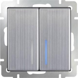 Выключатель двухклавишный проходной с подсветкой WL02-SW-2G-2W-LED глянцевый никель