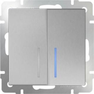 Выключатель двухклавишный проходной с подсветкой WL06-SW-2G-2W-LED серебряный