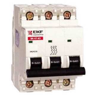 Автоматический выключатель ВА 47-63 3P 20А (C) 4,5kA EKF PROxima