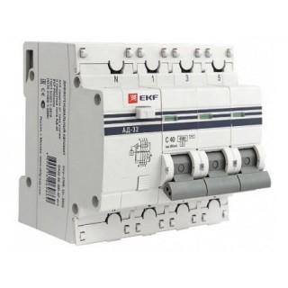 Автомат дифференциальный АД 32 3P+N 40А/30мА (хар. C, AC, электронный, защита 270В) 4,5кА EKF PROxima