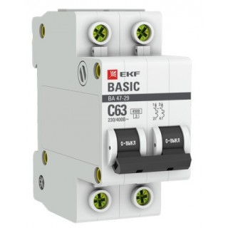 Автоматический выключатель ВА 47-29 2P 20А (C) 4,5kA EKF