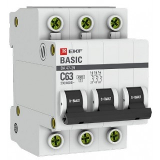 Автоматический выключатель ВА 47-29 3P 20А (C) 4,5kA EKF