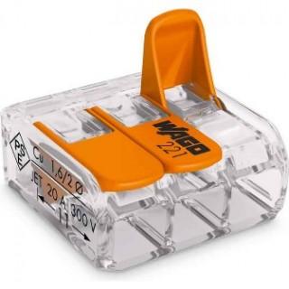 Клеммы WAGO 221-413 (3х4,0мм2 с рычажком) (упаковка 50 шт)