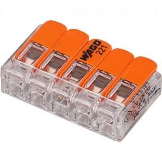 Клеммы WAGO 221-415 (5х4,0мм2 с рычажком) (упаковка 25 шт)