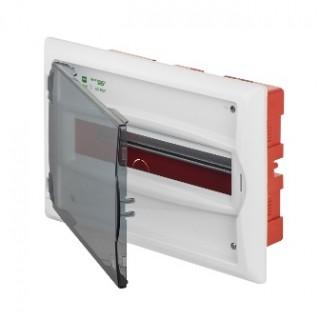 Щит встраив. ECO BOX 1x12M, N/PE 2x 2x16+7x10mm2, дымчатая пласт. дверь, белый RAL9003, IP40