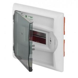 Щит встраив. ECO BOX 1x6M, N/PE 2x 2x16+3x10mm2, дымчатая пласт. дверь, белый RAL9003, IP40