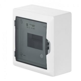 Щит навесной ECO BOX 1x6M, N/PE 2x 2x16+3x10mm2, дымчатая пласт. дверь, белый RAL9003, IP40