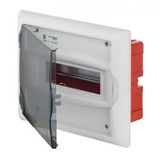 Щит встраив. ECO BOX 1x8M, N/PE 2x 2x16+5x10mm2, дымчатая пласт. дверь, белый RAL9003, IP40