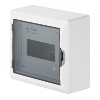 Щит навесной ECO BOX 1x8M, N/PE 2x 2x16+5x10mm2, дымчатая пласт. дверь, белый RAL9003, IP40