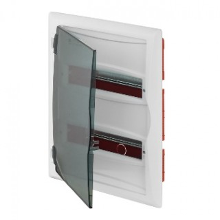 Щит встраив. ECO BOX 2x12M, N/PE 3x 2x16+7x10mm2, дымчатая пласт. дверь, белый RAL9003, IP40