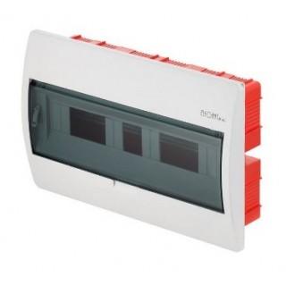 Щит встраиваемый ELEGANT 1x18M, N/PE 2x 2x16+12x10mm2, дымчатая пласт. дверь, белый RAL9003, IP40