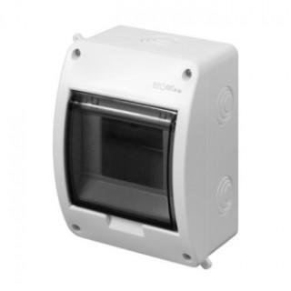 Щит навесной ELEGANT 1x5M, N/PE 1x10mm2, дымчатая пласт. дверь, белый RAL9003, IP40