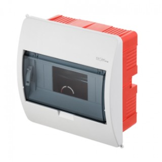 Щит встраиваемый ELEGANT 1x8M, N/PE 2x 2x16+5x10mm2, дымчатая пласт. дверь, белый RAL9003, IP40