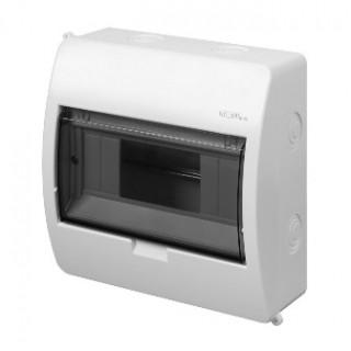 Щит навесной ELEGANT 1x8M, N/PE 2x 2x16+5x10mm2, дымчатая пласт. дверь, белый RAL9003, IP40
