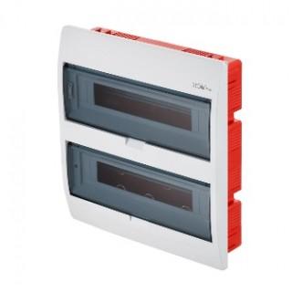 Щит встраиваемый ELEGANT 2x18M, N/PE 3x 2x16+12x10mm2, 2x дымчатых пласт. двери, белый RAL9003, IP40