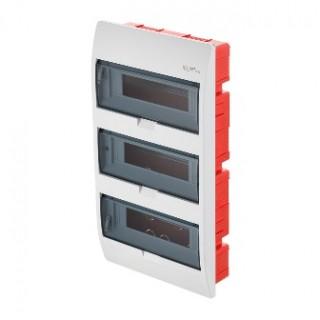 Щит встраиваемый ELEGANT 3x12M, N/PE 4x 2x16+7x10mm2, 3x дымчатых пласт. двери, белый RAL9003, IP40