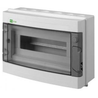 Щит навесной EP-LUX 1x12M, N/PE 2x 6x16+3x10mm2, дымчатая пласт. дверь, светло-серый RAL7035, IP65