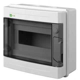 Щит навесной EP-LUX 1x8M, N/PE 2x 2x16+5x10mm2, дымчатая пласт. дверь, светло-серый RAL7035, IP65