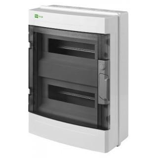 Щит навесной EP-LUX 2x12M, N/PE 3x 6x16+3x10mm2, дымчатая пласт. дверь, светло-серый RAL7035, IP65