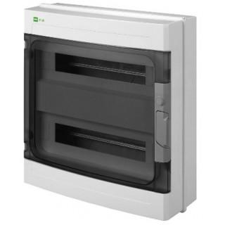 Щит навесной EP-LUX 2x18M, N/PE 3x 8x16+6x10mm2, дымчатая пласт. дверь, светло-серый RAL7035, IP65