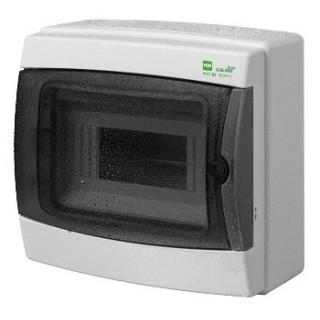 Щит навесной GALANT 1x8M, N/PE 2x 8x16+6x10mm2, дымчатая пласт. дверь, светло-серый RAL7035, IP65