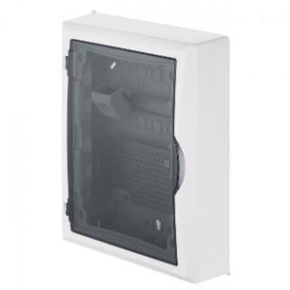 Щит навесной ECO BOX мультимед, TS35+1x МП перф.118x270mm, дымчатая пласт. дверь, белый RAL9003, IP40