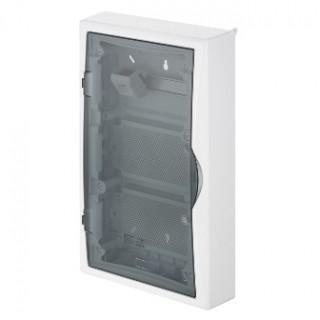 Щит навесной ECO BOX мультимед, TS35+2x МП перф.118x270mm, дымчатая пласт. дверь, белый RAL9003, IP40