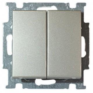 Выключатель двухклавишный ABB basic 55 (алюминий)