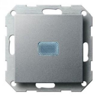 Выключатель с подсветкой ABB basic 55 (алюминий)