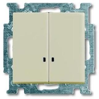 Выключатель двухклавишный с подсветкой ABB Basic 55 (сл.кость)