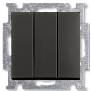 Выключатель трехклавишный ABB Basic 55 (шато-черный)