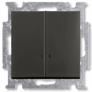 Выключатель двухклавишный с подсветкой ABB Basic 55 (шато-черный)
